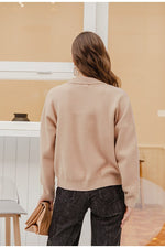 Load image into Gallery viewer, Women's Geometric Khaki Knitted Casual Pullover