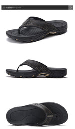 Load image into Gallery viewer, PU Leather Summer Men Slippers Beach Sandals