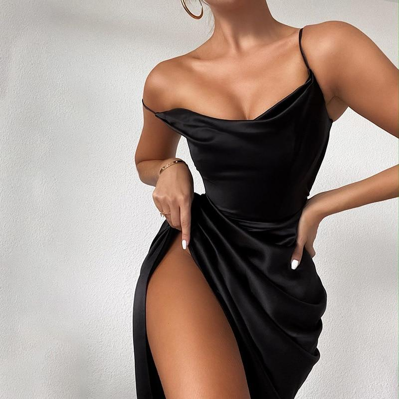 Satin Party Dress Women Skinny Elegant Dress