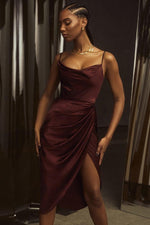 Load image into Gallery viewer, Satin Party Dress Women Skinny Elegant Dress