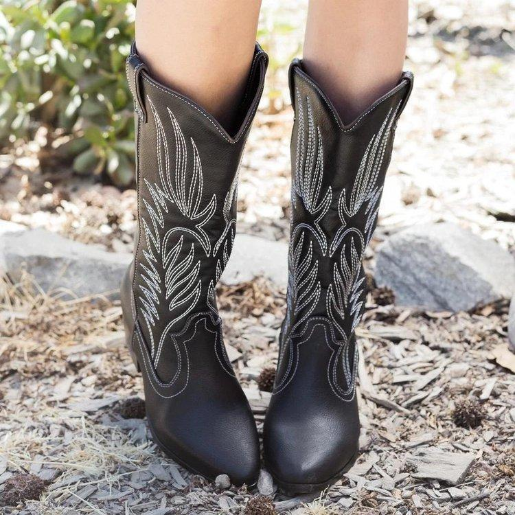 Leather Cowgirl Low Heels Women Boots