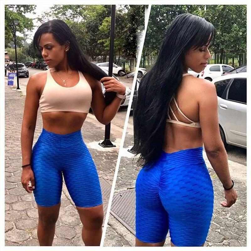 High Waisted Anti-Cellulite Textured Push Up Workout  Shorts