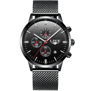 Black-Red LIGE Watch - Luxury Watches Shop