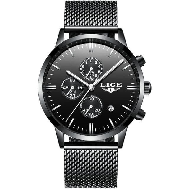 Black LIGE Watch - Luxury Watches Shop