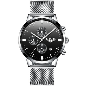 Silver-Black LIGE Watch - Luxury Watches Shop