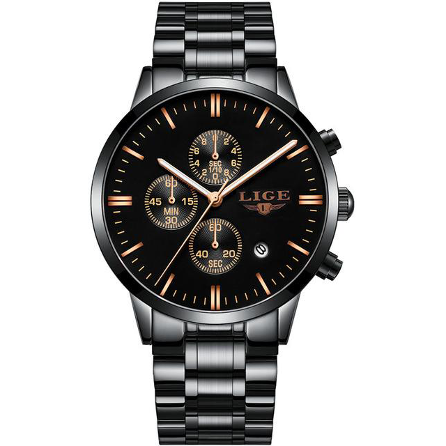 Black-Gold Steel LIGE Watch - Luxury Watches Shop
