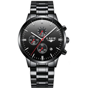Black-Red Steel LIGE Watch - Luxury Watches Shop