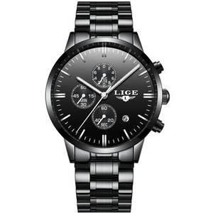 Black Steel LIGE Watch - Luxury Watches Shop