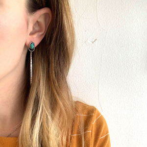 Turquoise Nugget Post Hoop Earrings