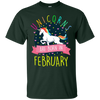 Image of Unicorns Are Born In February Colorful Fun Birthday T-Shirt