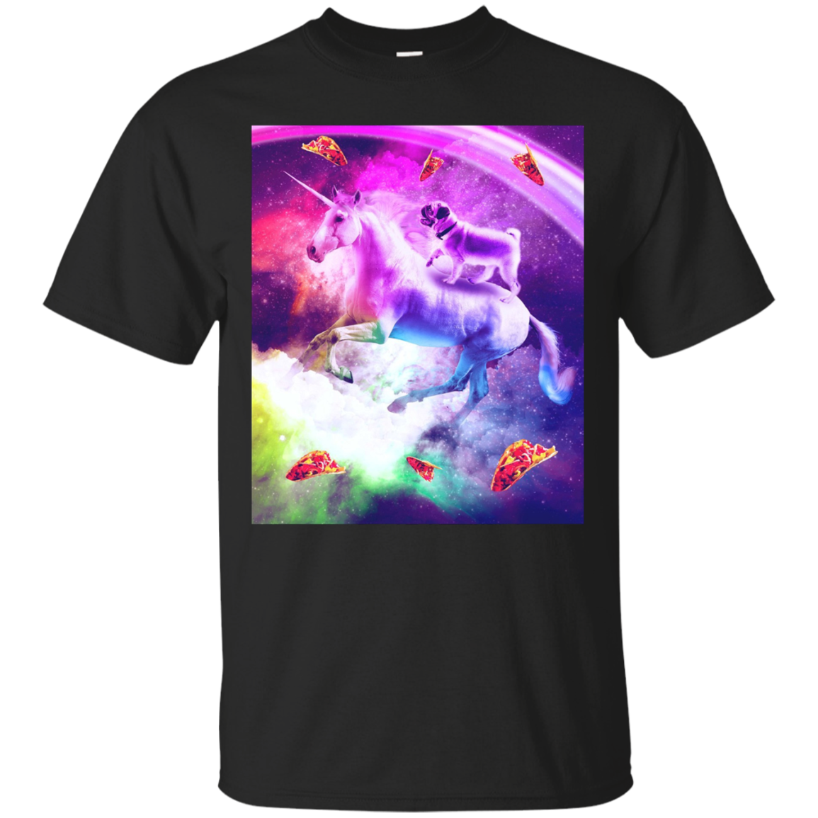 Rainbow Space Pug Riding On Flying Unicorn With Taco T-Shirt