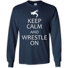 Image of Keep Calm and Wrestle On wrestler t-shirt