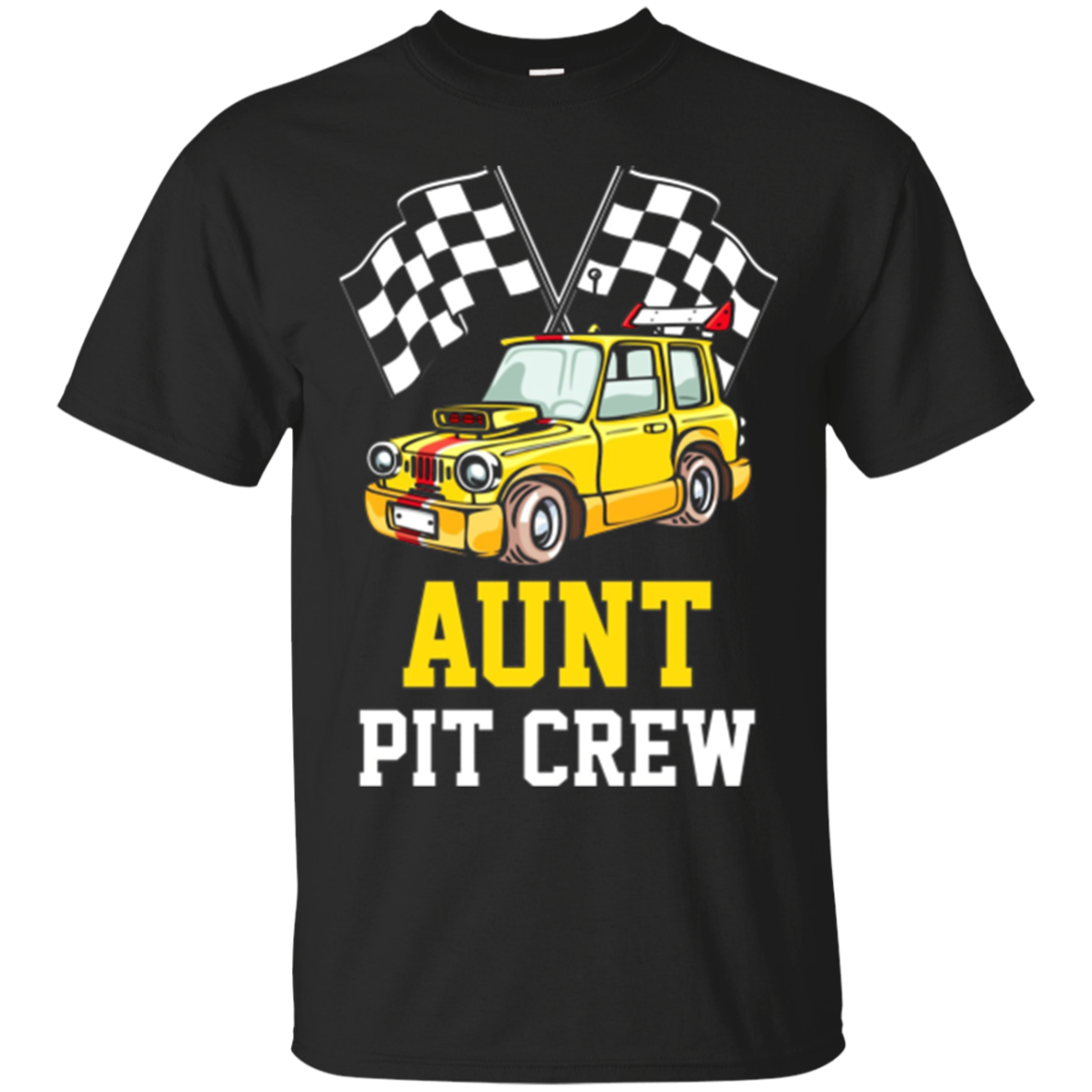 Pit Crew AUNT Back Print Long Sleeve T-Shirt Race Car