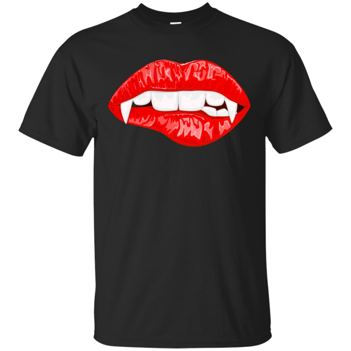Red Female Lips with Vampire Fangs Halloween Horror T-shirt