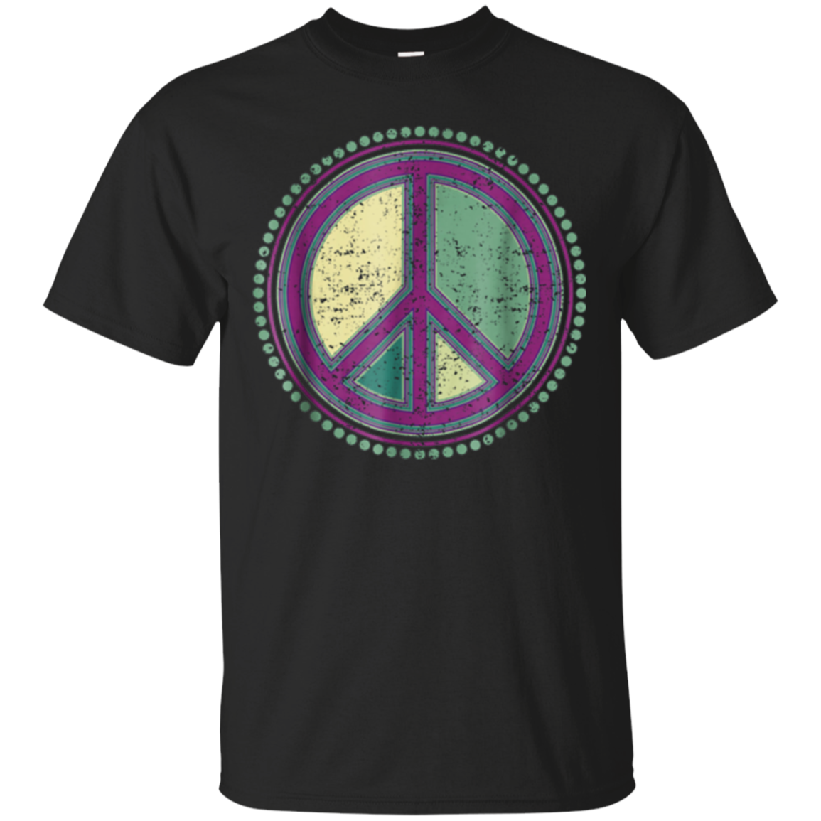 Flower Power Peace Sign - Grunge 2 Groovy Retro T-Shirt