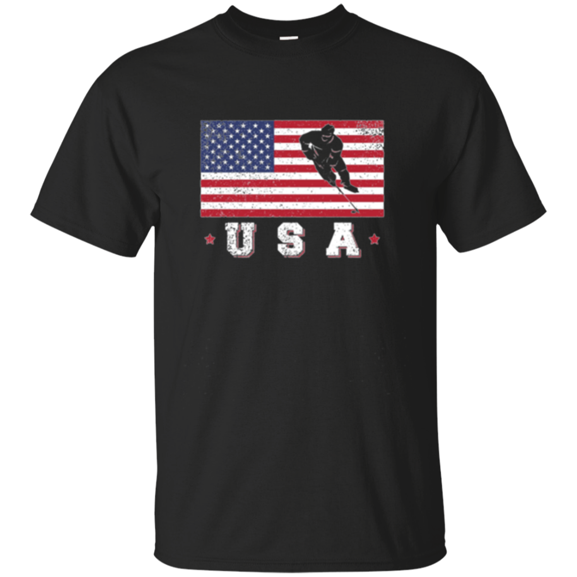 American USA Flag Ice Hockey T-Shirt Patriotic Sports Gift