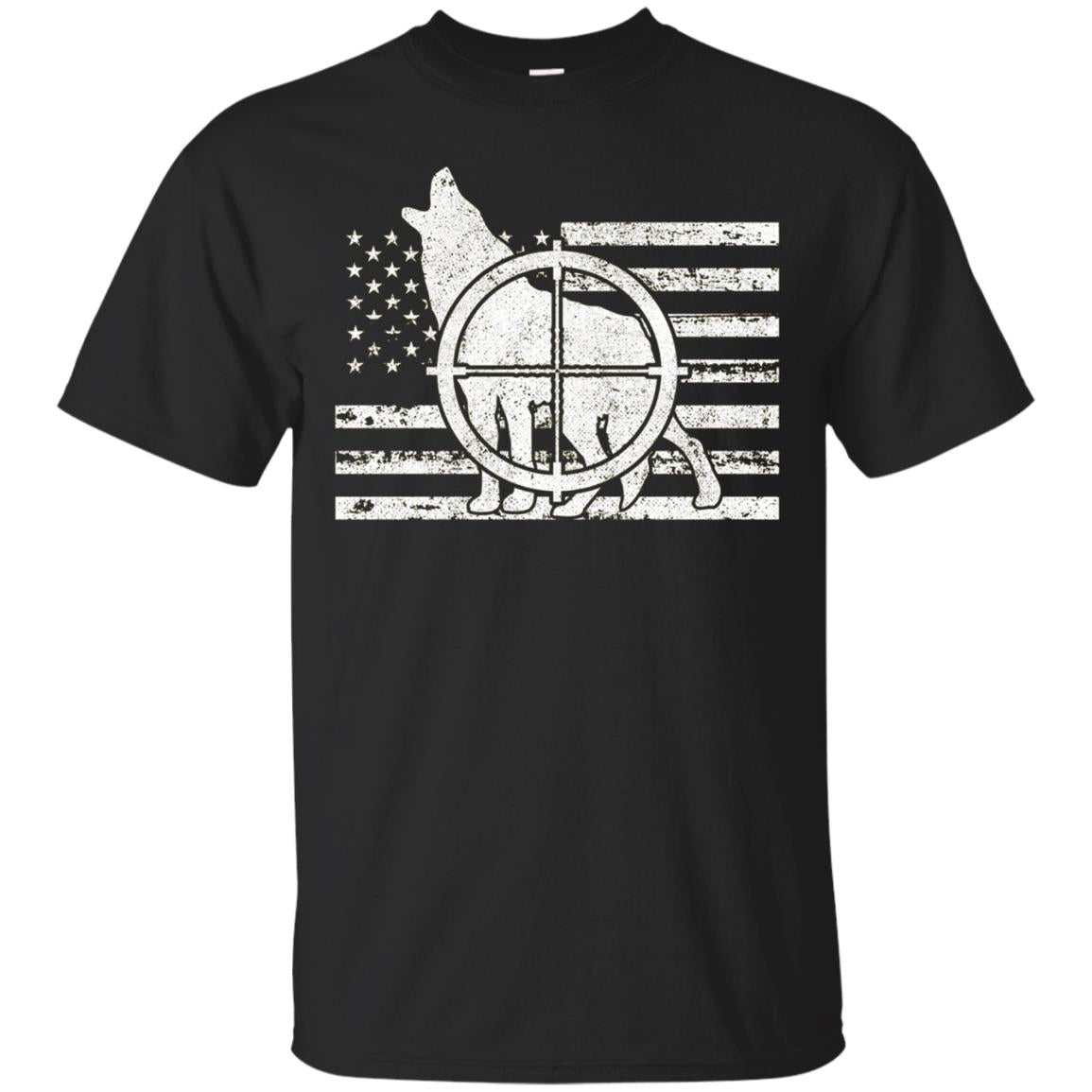 Coyote Hunter American Flag Patriotic Hunting Shirt