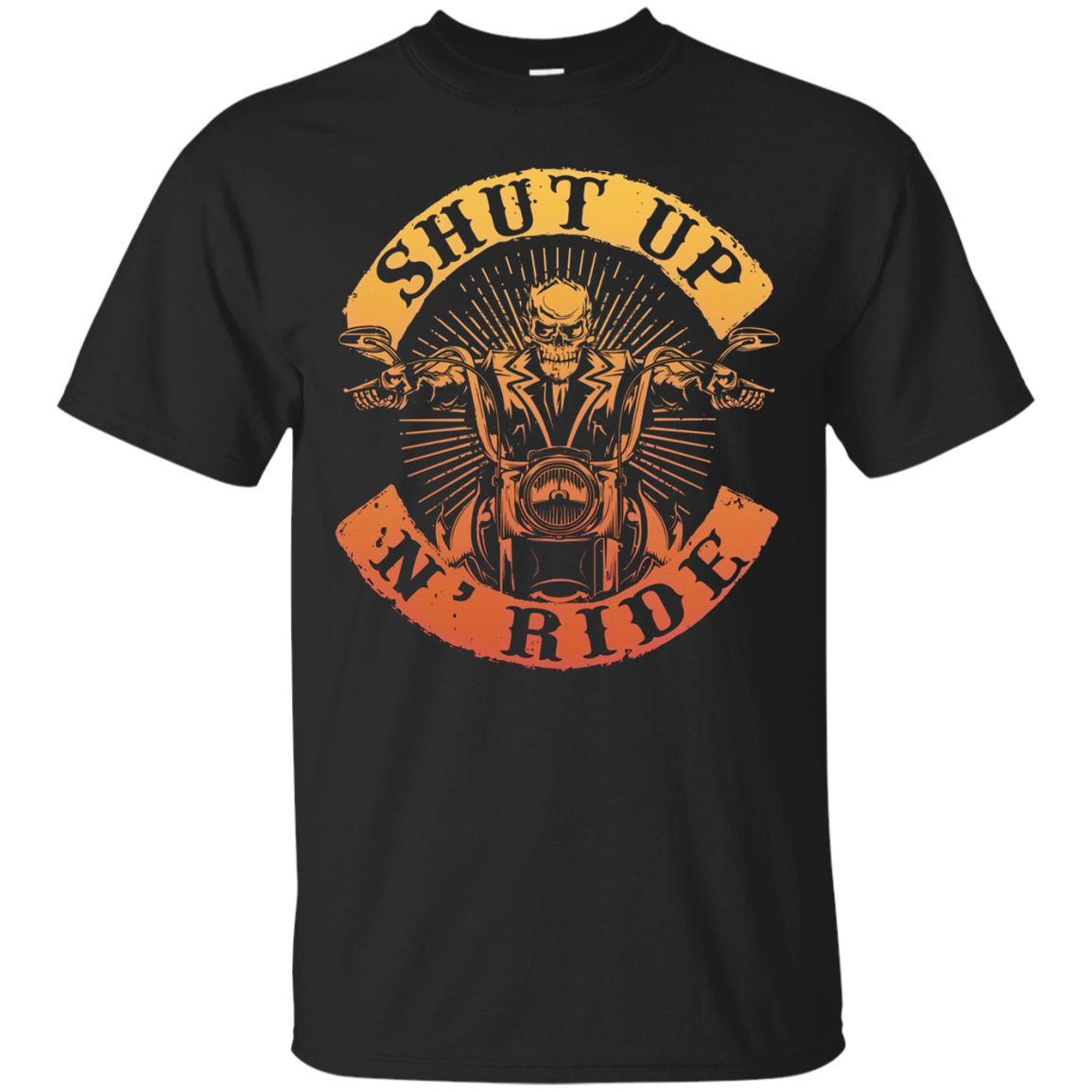 Shut Up N Ride Skeleton Biker Motorcycle Rider Skull T Shirt