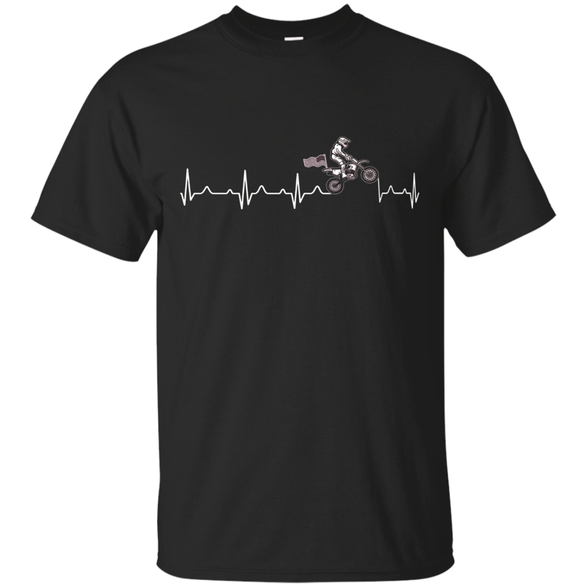 Motocross heart beat with Us flag t-shirt