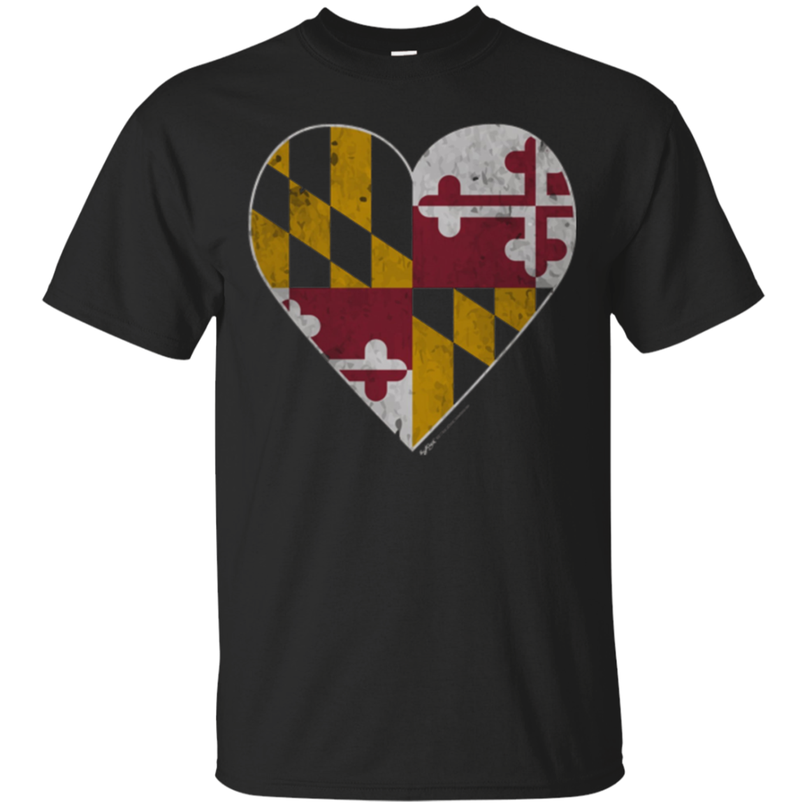 Vintage Heart Maryland State Flag T-Shirt