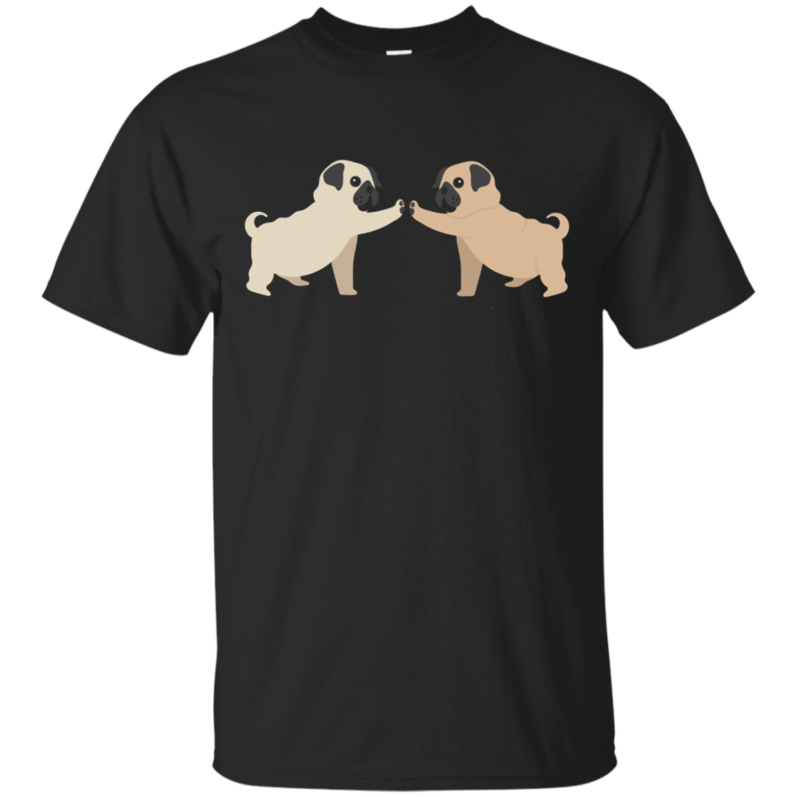 PUG Hi-Five T-shirt - Two PUGS Giving Each Other a Hi-5 Paw!