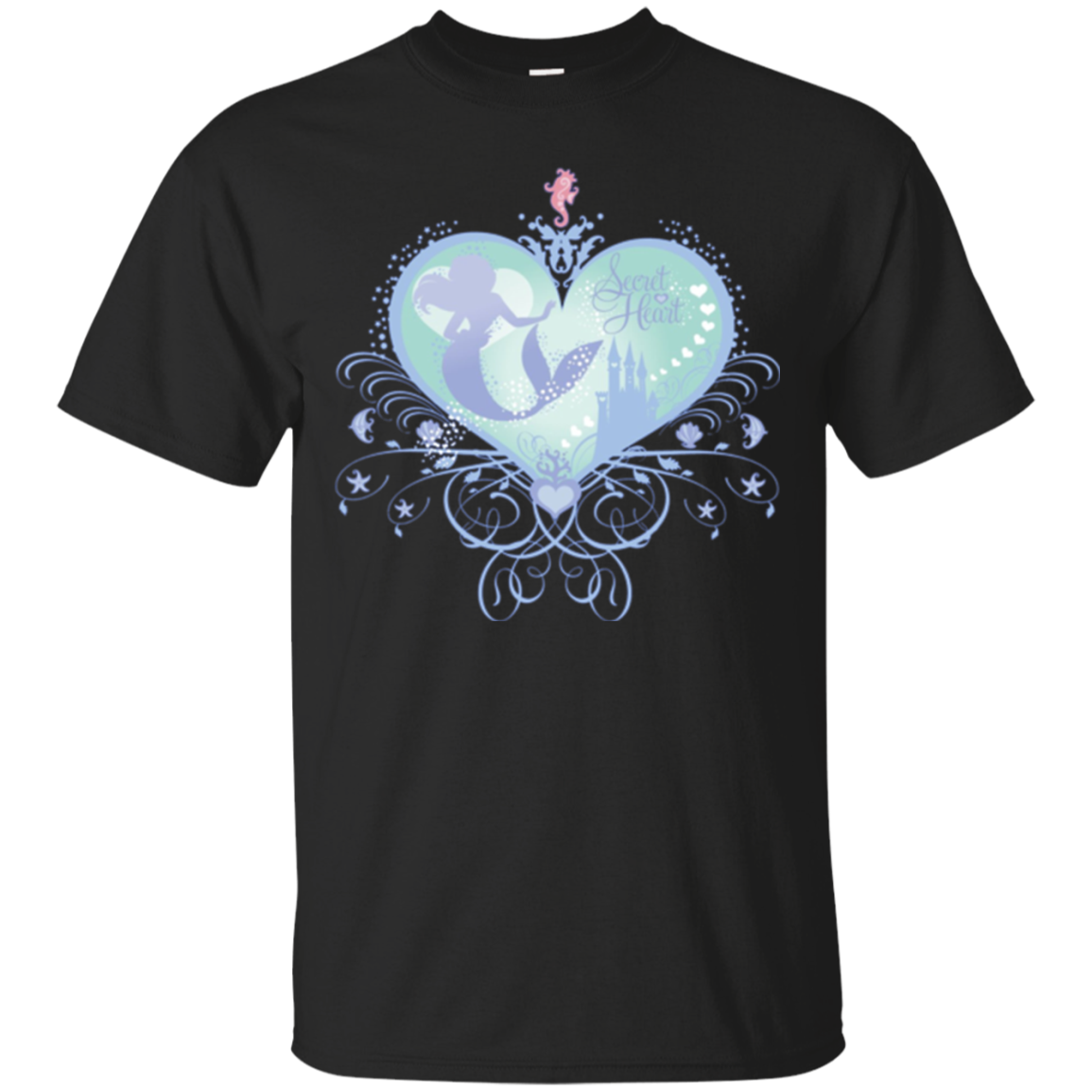 Lovely Mermaid Silhouette Secret Heart Pink Seahorse T-Shirt