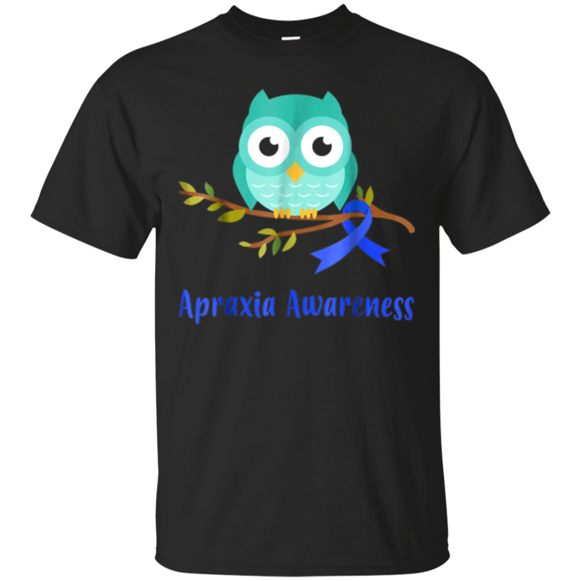 Apraxia Awareness Blue Ribbon Owl Kids T-Shirt