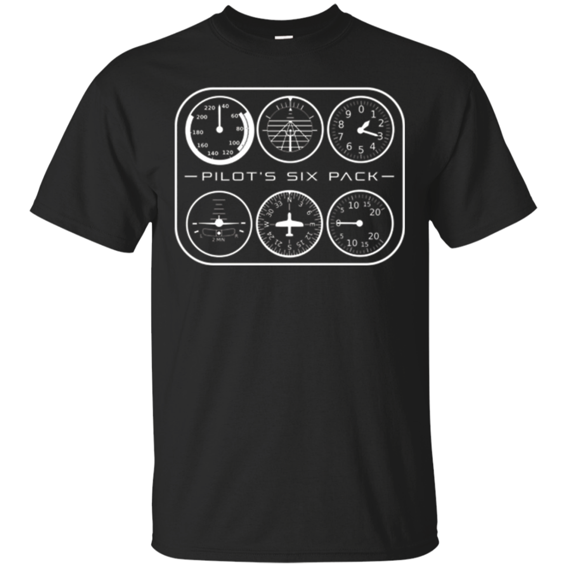 Pilot's Six Pack T-Shirt | Flight Instruments Aviation Shirt