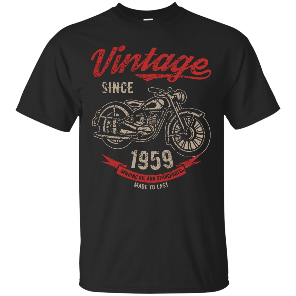 Vintage Since 1959 Birthday Gift Motorcycle Bike T-Shirt