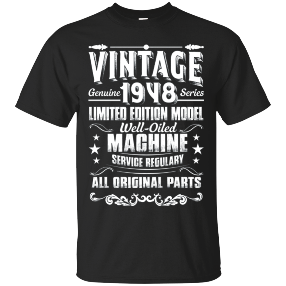 Vintage 1948 70th Birthday Funny T-shirt All Original Parts
