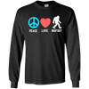 Image of Bigfoot Tshirt Peace Love Bigfoot Sasquatch Funny Gift Shirt