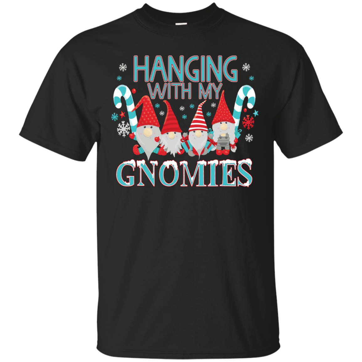 Funny Christmas Garden Gnome T-Shirt Hanging With My Gnomies