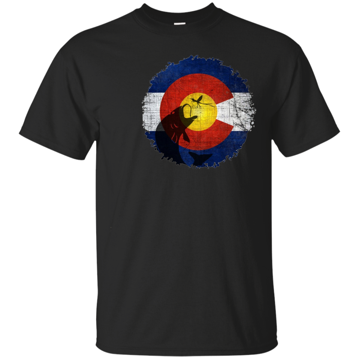 Colorado Flag T-Shirt with Fly Fishing Design