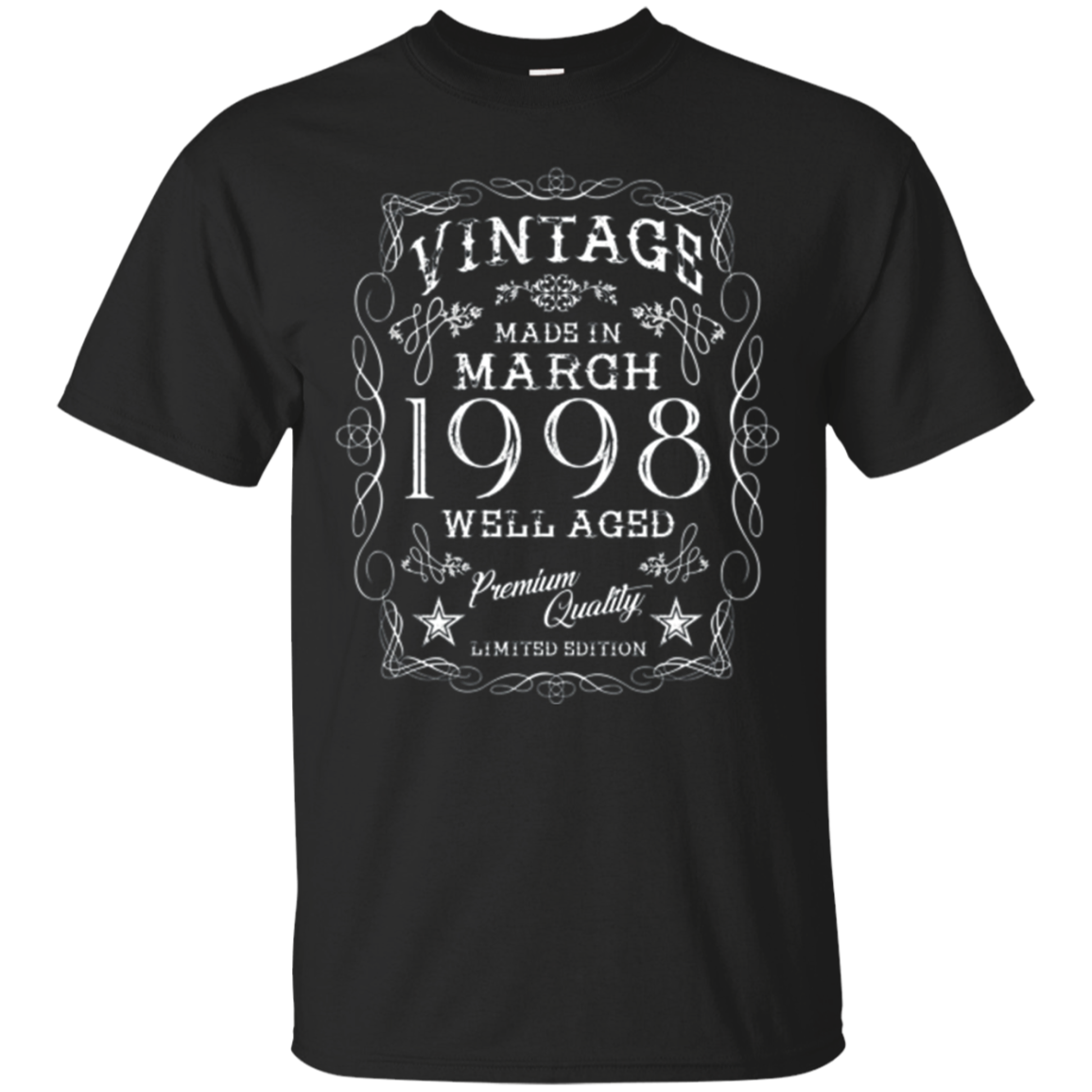 Vintage 20th Birthday Made In March 1998 T-shirt