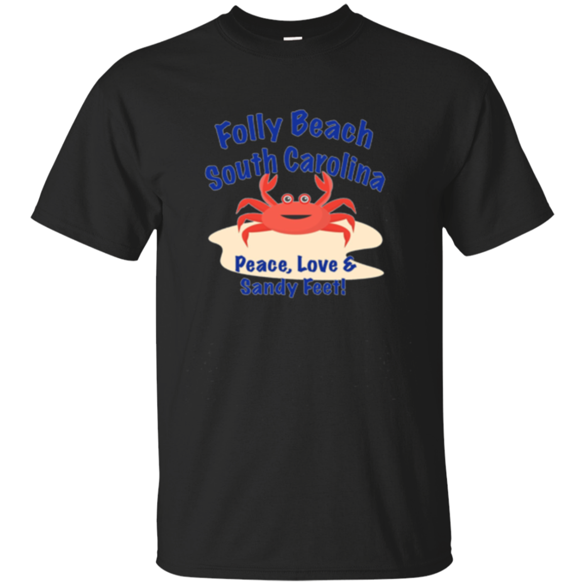 Happy Crab, Folly Beach, South Carolina beach tee shirt