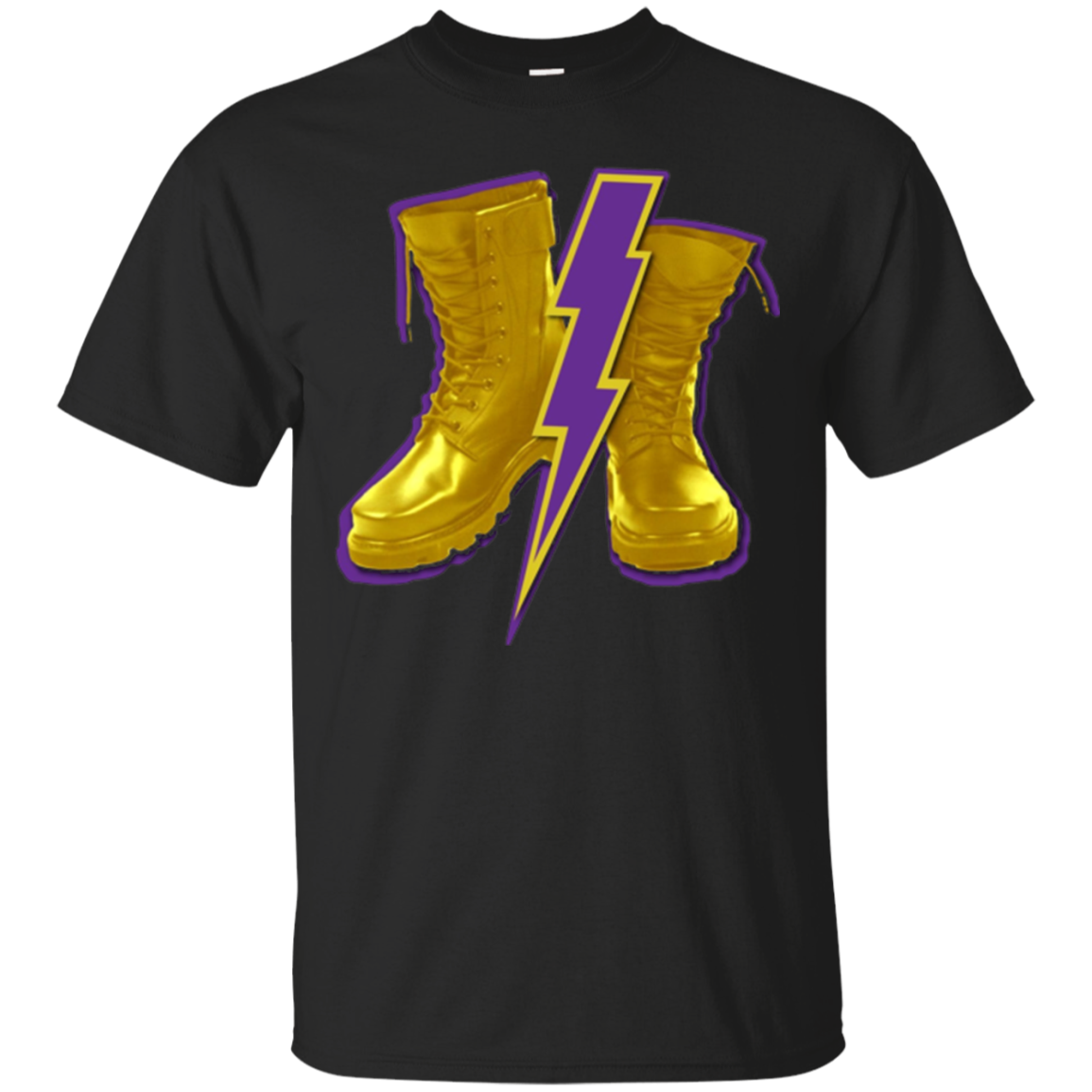 Mens Omega Gold Purple Q Psi Phi Army Boots T-Shirt 4 Lightning