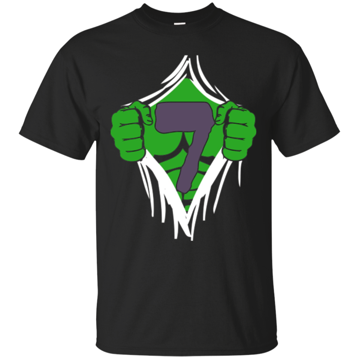 Green Man Chest Superhero Birthday Shirt For 7 Year Old Boys