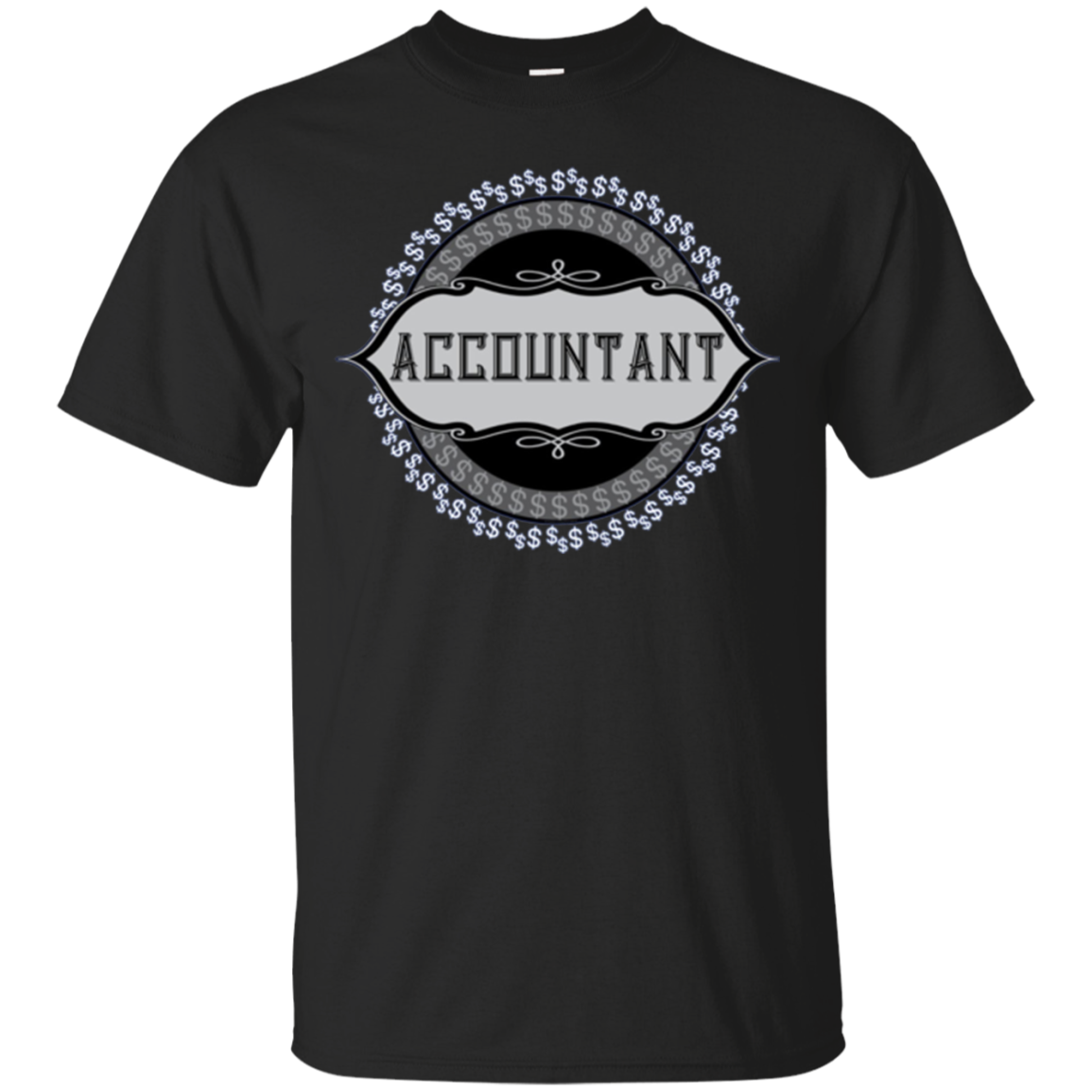 Accountant Dollar Signs Emblem Long Sleeve Shirt