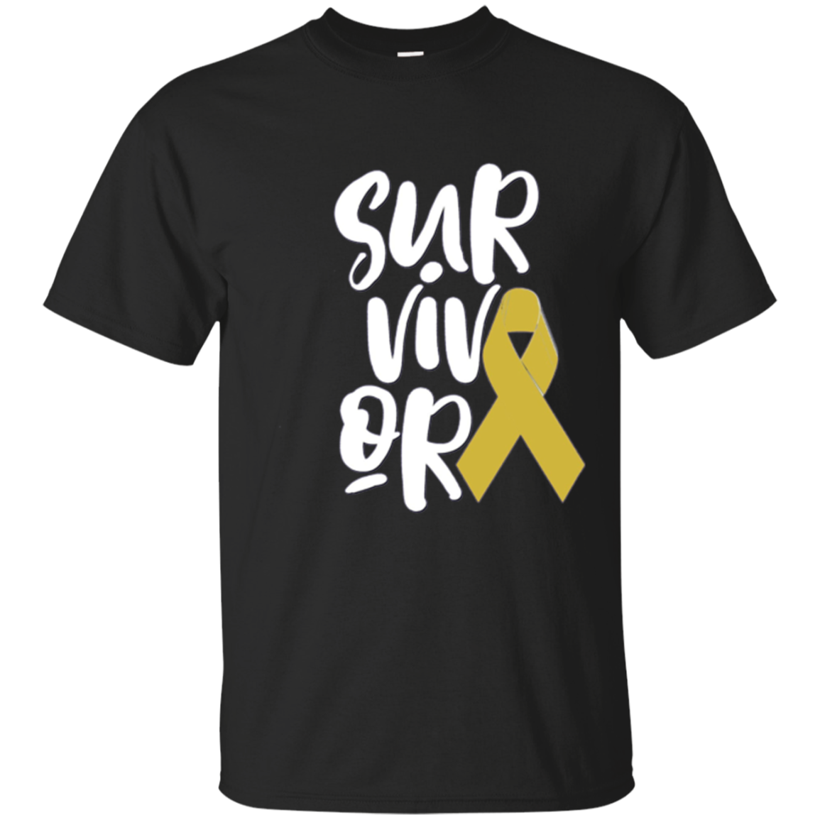 Childhood Cancer Survivor Shirt Kids Gold Awareness Ribbon