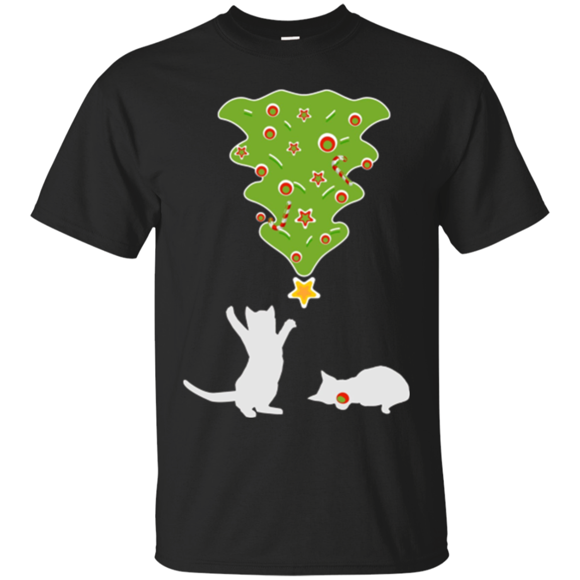 Cat Funny Upside Down Christmas Tree t shirt