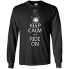 Image of Keep Calm and Ride on, Rottweiler Dog on Motorcycle T-Shirt