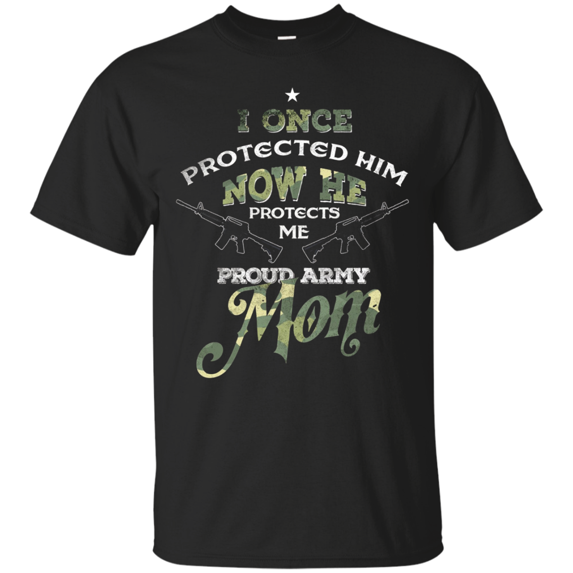 Once Protected Him Now He Protects Me Proud Army Mom T shirt