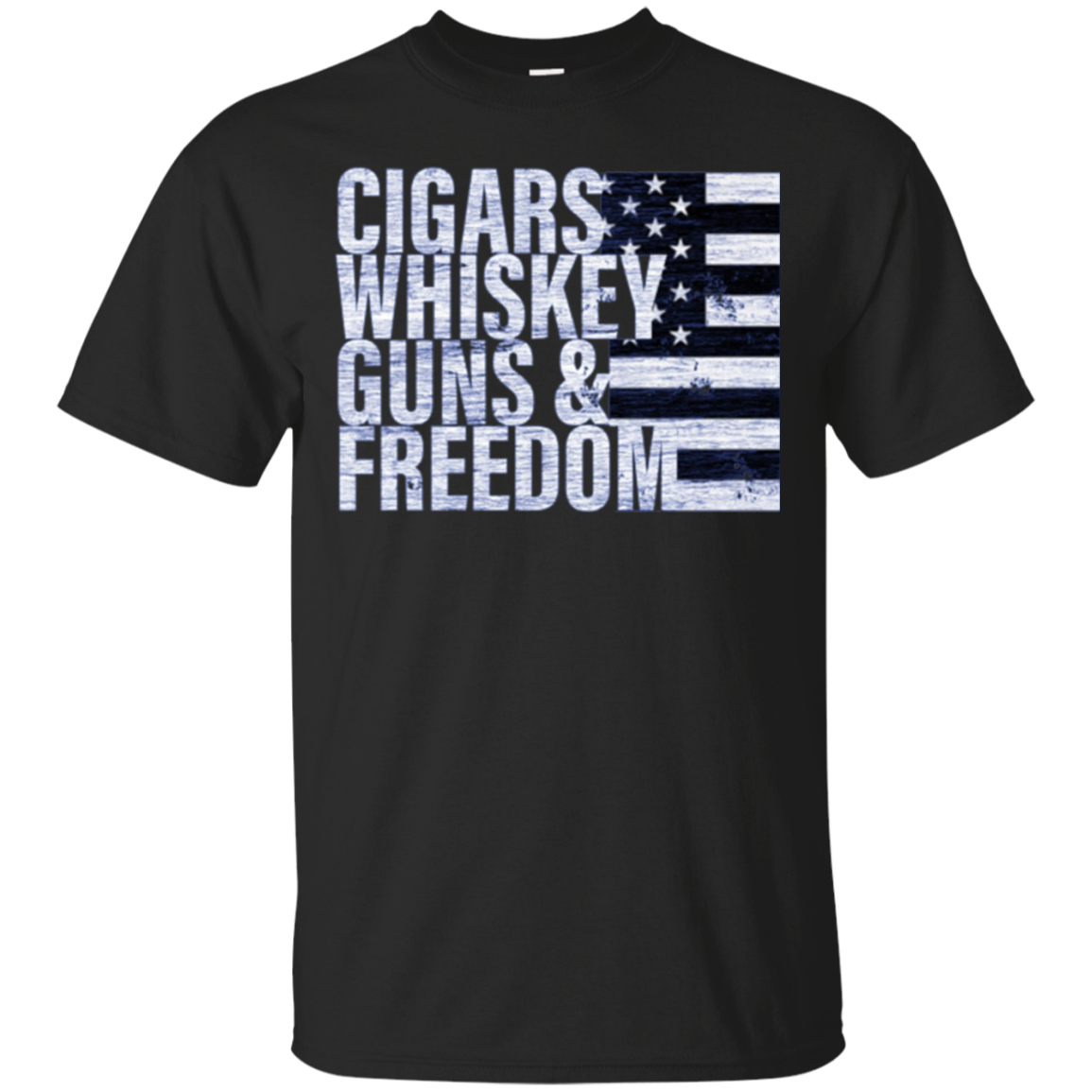 Cigars Whiskey Guns & Freedom T-shirt Flag Long Sleeve Tee