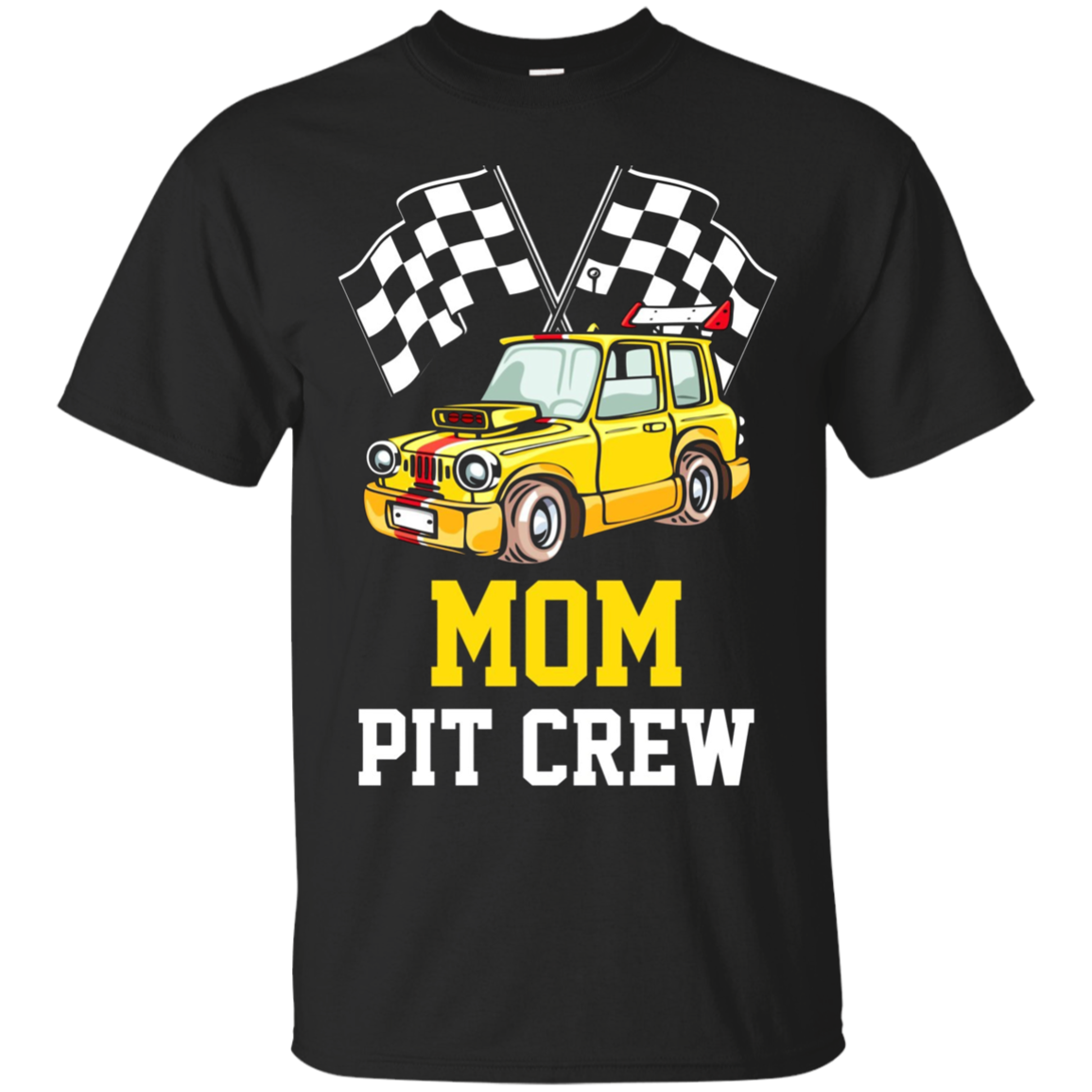 Pit Crew MOM Back Print Long Sleeve T-Shirt Race Car