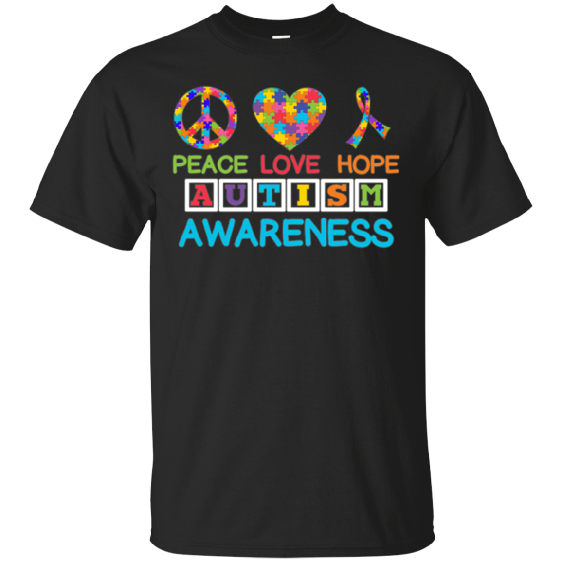 Autism Awareness Peace Love Hope Puzzle Ribbon T-shirt