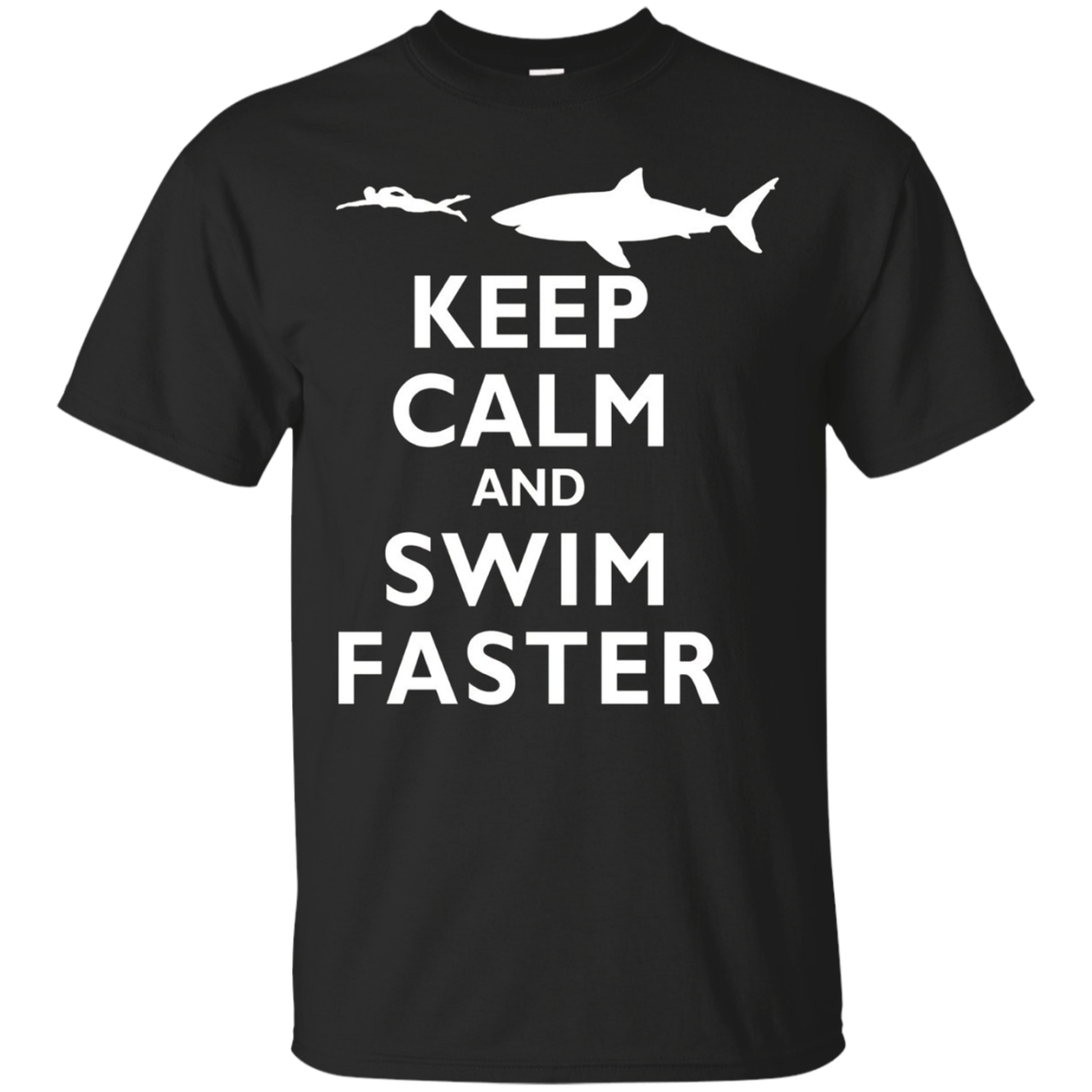 Classic Keep Calm and Swim Faster Shark Swimming Swimmer