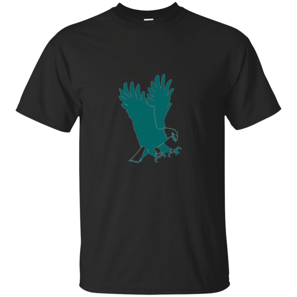Bald Eagle Green Silhouette Long Sleeve T-Shirt
