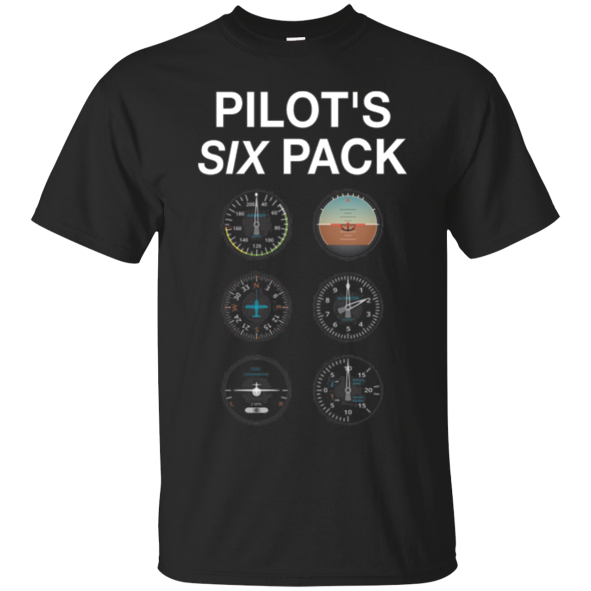 Pilot's Six Pack Funny Aviation T-Shirt