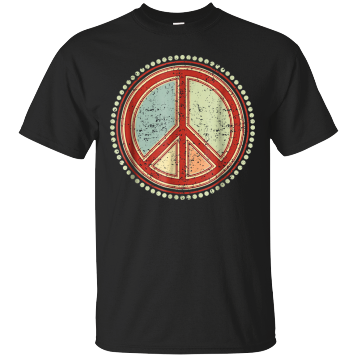 Flower Power Peace Sign - Grunge 1 Groovy Retro T-Shirt