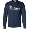 Image of Believe Santa Hat Christmas Joy Holiday Spirit Hope Shirt